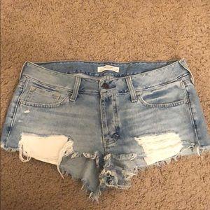 low rise super short ripped denim shorts